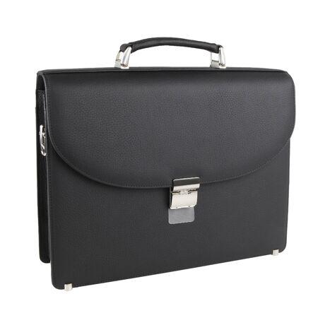 Nowa modna męska torba biznesowa lub aktówka z czarnej skóry. Bez cieni. Na białym tle