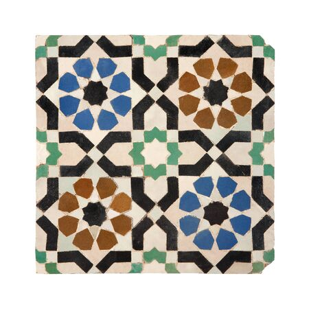 Old blue green brown black white ceramic tiles in oriental East style. As background texture. Isolated on white background