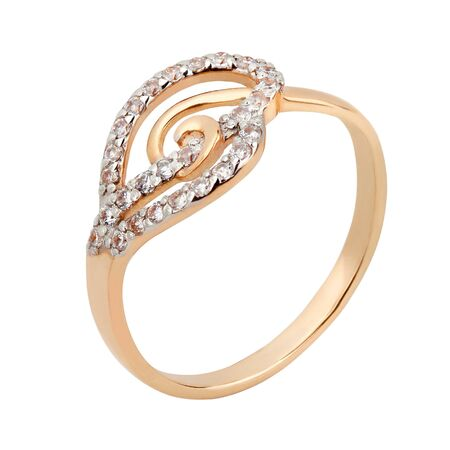 Women gold ring with diamonds isolated on white background  Фото со стока