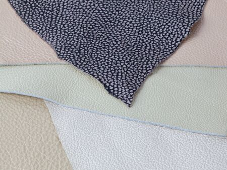 Different pastel colors natural leather textures samples