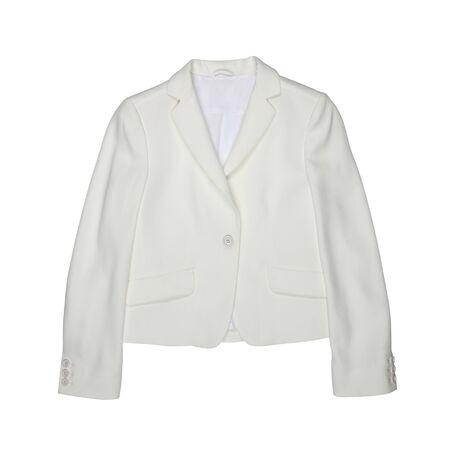 Weiße weibliche Jacke getrennt auf weißem Hintergrund. Moderne modische Damenbekleidung. Flach legen
