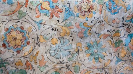 Ancient Italian floral frescoed wall