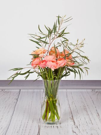 Beautiful bouquet of fresh pink ranunculus with eucalyptus in transparent glass vase. On white grey background