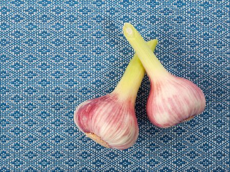 Close up fresh young garlic bulbs on blue ornamental background. Top  view. With copy space