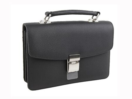 New fashion male business bag or briefcase in black leather. Without shadows. Isolated on white background