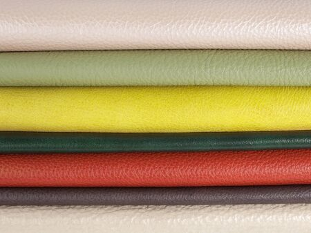 Different colors natural leather textures samples