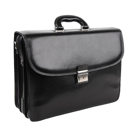 New fashion male business bag or briefcase in black leather isolated on white background. Without shadows