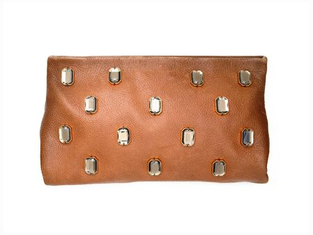 Light brown leather clutch bag with gems. Front view. Without shadows. Isolated on white background