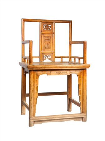 Antique wooden Chinese chair isolated on white background