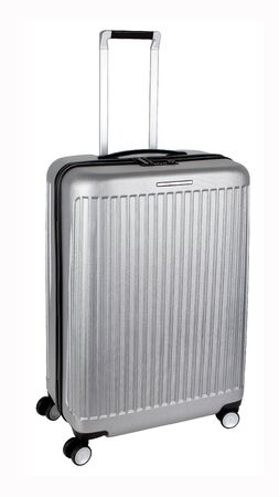 New grey plastic travel suitcase or luggage bag isolated on white background. Without shadows
