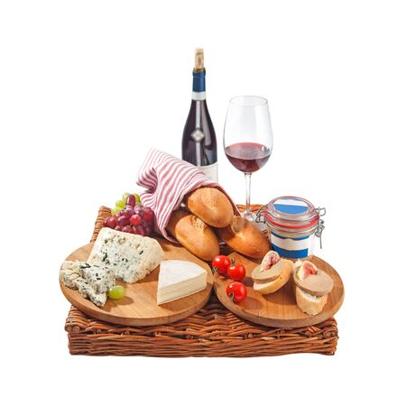 Rustic still life with cheese, bread, grapes, tomatoes, pate and red 