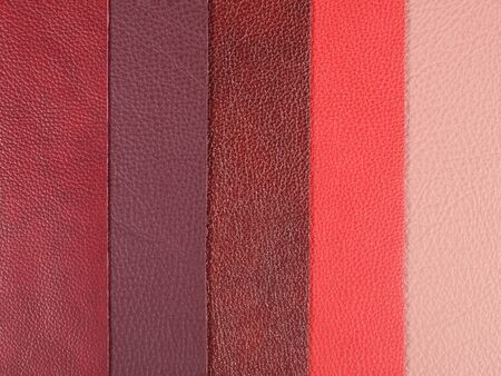 Different shades of red natural leather textures samples