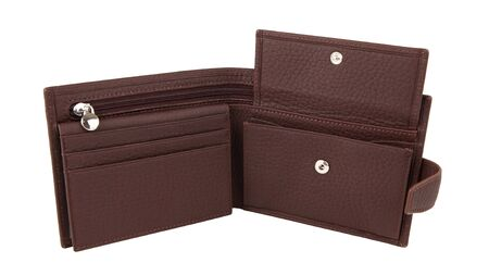 New open empty wallet of genuine brown cattle leather. Isolated on white background. 