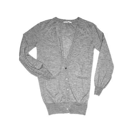 Male grey cardigan sweater isolated on white background Zdjęcie Seryjne