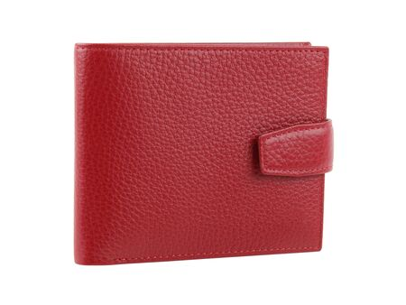 New red wallet of genuine cattle leather. Isolated on white background. Close-up shot