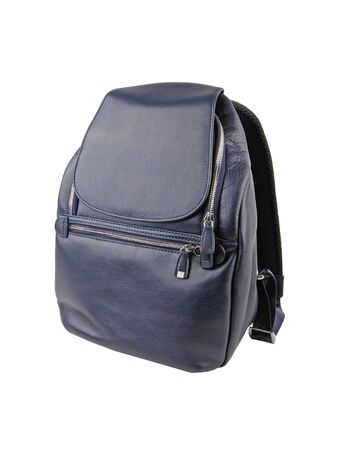 New fashion dark blue female leather bag or backpack isolated on white background