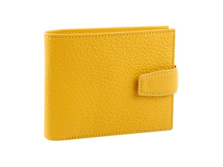 New yellow wallet of genuine cattle leather. Isolated on white background. Close-up shot