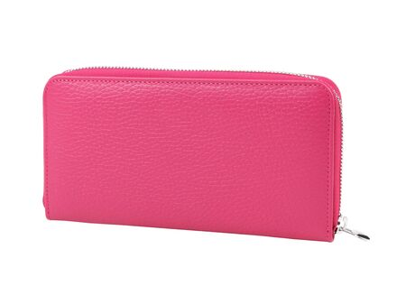 Female pink leather cosmetic bag or wallet. Without shadows. Isolated on white background