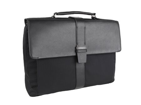 New fashion male business bag or briefcase in black leather and fabric isolated on white background. Without shadows