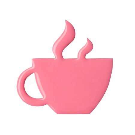 Blot of pink nail polish shaped steaming coffee cup isolated on white background. Photo. Top view