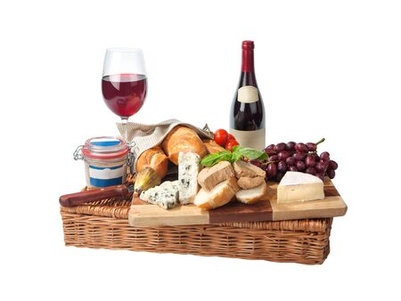 Rustic still life with cheese, bread, grapes, tomatoes, pate and red wine. Isolated on white background Zdjęcie Seryjne