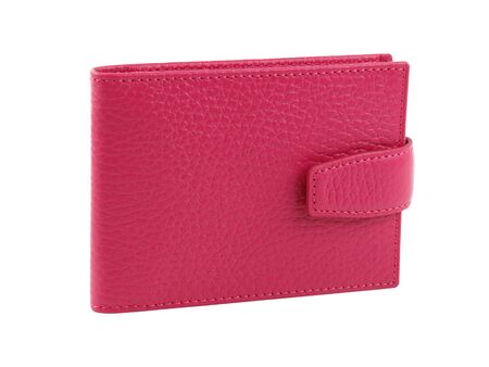 New pink wallet of genuine cattle leather. Without shadows. Isolated on white background. Close-up shot