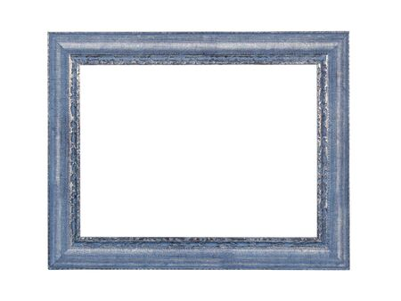 Empty blue wooden frame for paintings or photo with silver patina. Isolated on white background