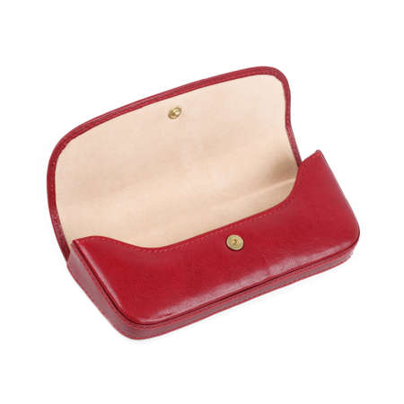 Open red leather eyeglasses case. Without shadows. Isolated on white background Banco de Imagens