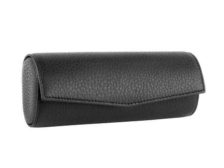 Closed black leather eyeglasses case. Without shadows. Isolated on white background Banco de Imagens