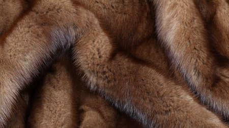 Brown mink fur texture background. Close up shot