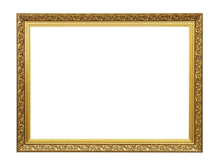 Old empty brown wooden frame for paintings with gold patina. Isolated on white background Banque d'images