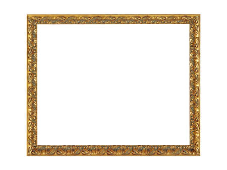 Old empty gray wooden frame for paintings with gold patina. Isolated on white background