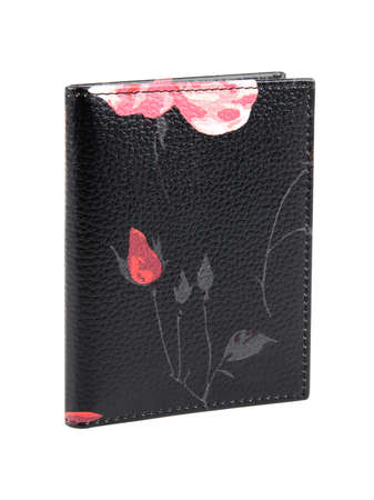 New black wallet of genuine cattle leather with pink flowers. Without shadows. Isolated on white background. Close-up shot
