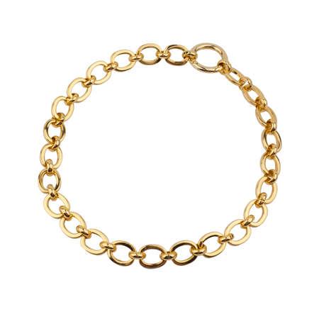 Women`s wrist bracelet of golden chain isolated on white background