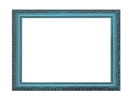 Empty blue wooden frame for paintings or photo. Isolated on white background