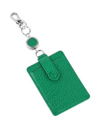 Working pass holder in green leather isolated on white background
