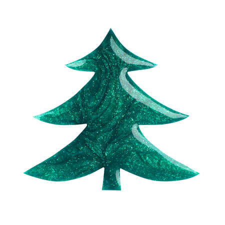 Blot of green fir tree shaped nail polish isolated on white background. Macro photo. Top view