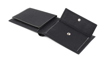 New black open empty wallet of genuine cattle leather. Isolated on white background. Close-up shot 免版税图像