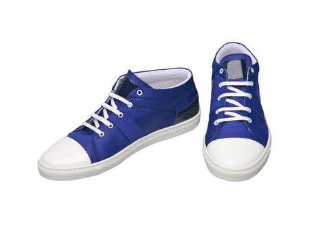 Pair of blue stylish sneakers isolated on white background Stock fotó