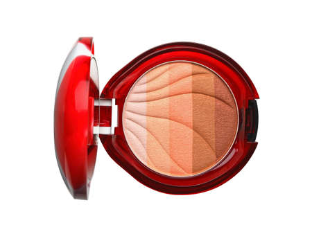 Dry color eye shadows in red casket isolated on white background. Top view Reklamní fotografie