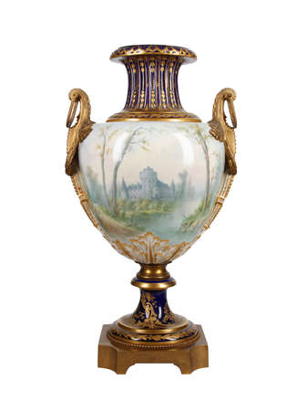 French old vintage porcelain vase isolated on black background