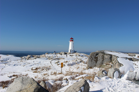 snowy landscape at peggys cove in winter