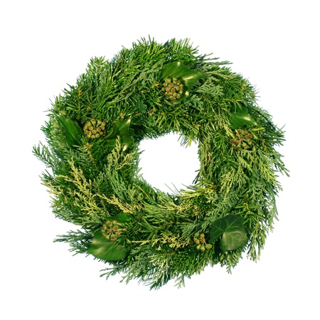 advent time: Natural Advent Wreath Stock Photo