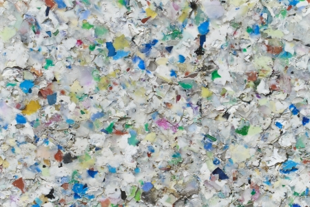 waste prevention: Board made of Recycling Plastic Stock Photo