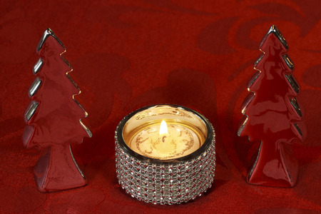 tea candle: Christmas Table Decoration with decoration Christmas Trees, candleholder and tea candle Stock Photo