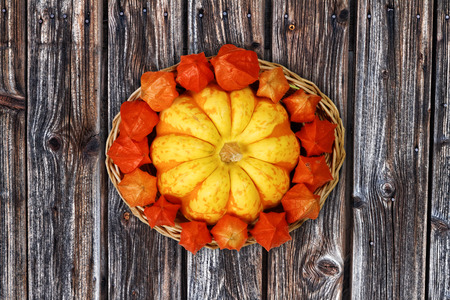 Autumnal Basket with Decorative Gourd and Physalis on Wooden Background