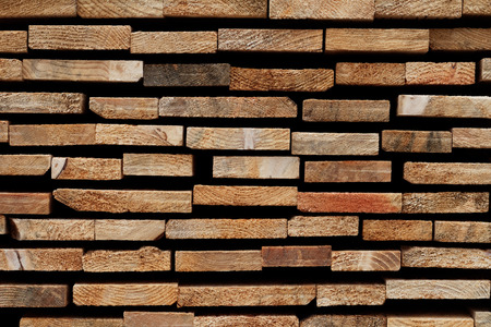 Abstract Wooden Background: Stacked Cross-Sections of Different Soft Wood Slats