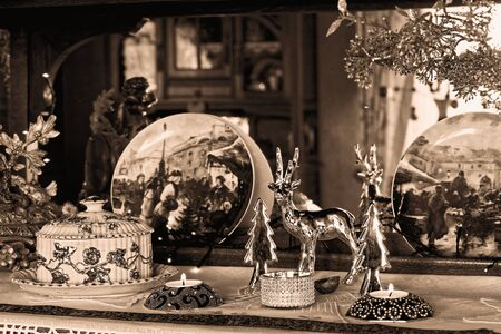 Christmas Still Life - Family Room Decoration in sepia
