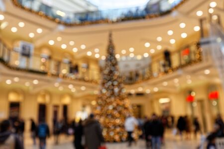 Christmas Lighting and Christmas Tree in Multistory Shopping Center Bokeh Background