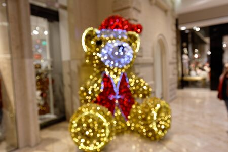 Christmas Teddy Decoration in Shopping Mall Blurred Scene